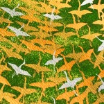 RCK9139 Golden Green Flying Cranes Washi Paper - www.HankoDesigns.com - Japanese Yuzen Washi Paper 8.5