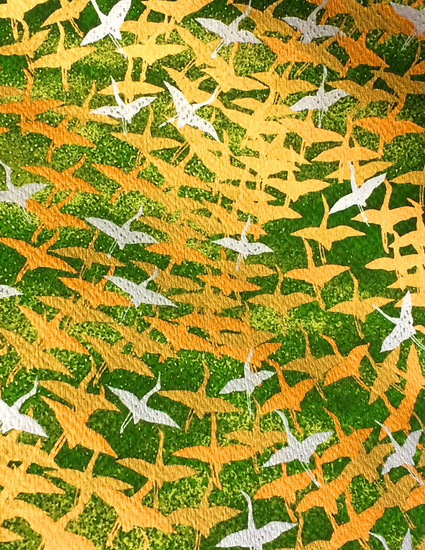 "RCK9139 Golden Green Flying Cranes Washi Paper - www.HankoDesigns.com - Japanese Yuzen Washi Paper 8.5""x11"" - Fall 2014"