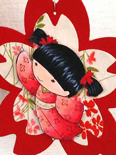 Sample using Sakura Cutting Die, Hanko Washi Paper & Sister Stamp Image
