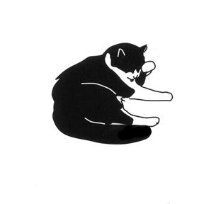 HG112 grooming cat cats gato kitty neko Hanko Designs