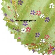 PC229 Sage Green Yuzen Washi Paper CloseUp