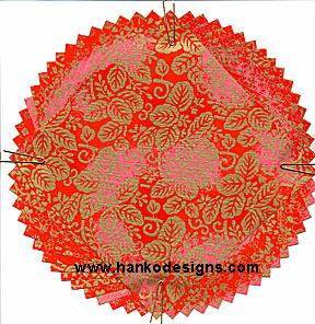 PC254 Red Gold Whirl Yuzen Washi Paper