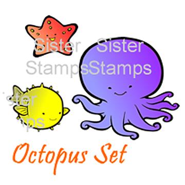 16 Octopus Set - Sister Stamps - Sea Creatures - www.HankoDesigns.com