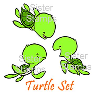 Turtle Set - Sea Creature Series - Sister Stamps - www.HankoDesigns.com