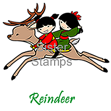 17 Reindeer - Tis the Season - Christmas Holiday Sister Stamps. Ummounted Rubber Stamp Images - www.HankoDesigns.com