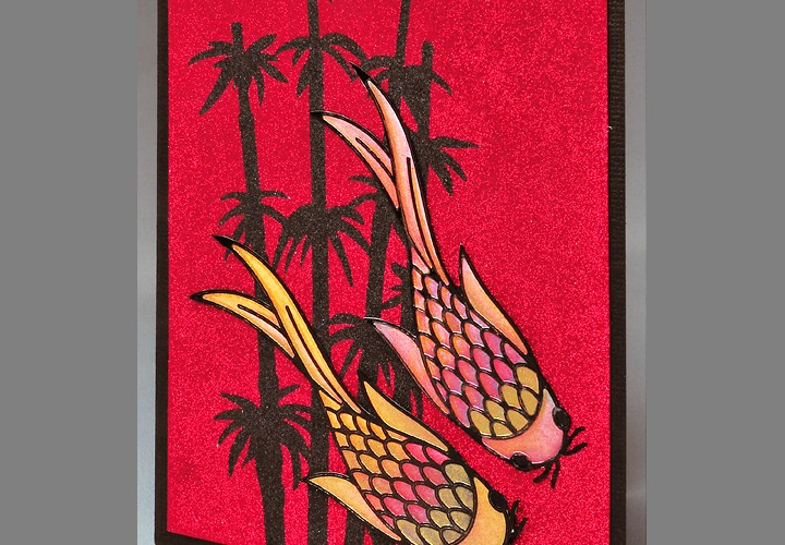 Red Koi Glitter Card