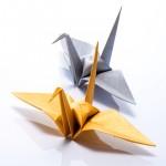 Crane Origami - Metallic Washi Paper - Hanko Designs - www.HankoDesigns.com