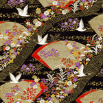 RTB9826 Elegant Cranes and Fans Japanese Washi Paper - www.HankoDesigns.com