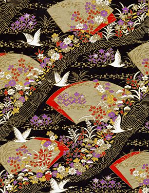 RTB9826 Elegant Cranes and Fans Japanese Washi Paper - www.HankoDesigns.com
