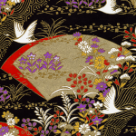 RTB9826 Elegant Golden Fans and Cranes Japanese Washi Paper - Hanko Designs