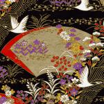 RTB9826 Elegant Golden Fans and Cranes Japanese Washi Paper - Hanko Designs