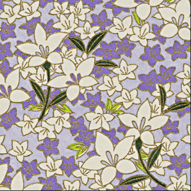 RTD7144 Floral Lavender Washi Paper - www.HankoDesigsn.com blossom, blooms, purple, violet, white, kikyou, star, flower, spring, Easter, pastel, passion