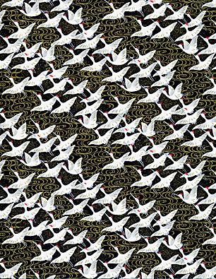 RKB7058 Elegant Black Flying Cranes Japanese Washi Paper - www.HankoDesigns.com - Hanko Designs