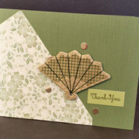 Mini Green Fan card by Jean Okamoto.- www.HankoDesigns.com