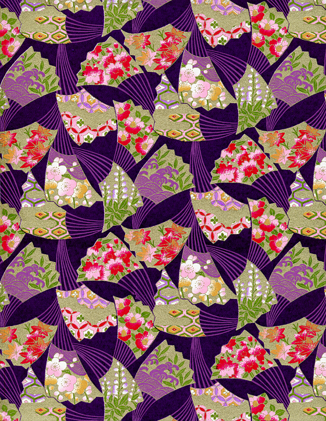 RKB7736 Golden Swaying Fans Purple Japanese Washi Paper - Hanko Designs - www.HankoDesigns.com 2014