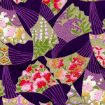 RKB7736 Golden Swaying Fans Purple Washi - Hanko Designs