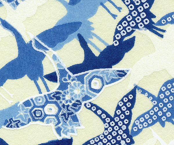 RKBMo31 Aizome Blue Flying Cranes Japanese Washi Paper - Hanko Designs - www.HankoDesigns.com 2014