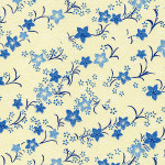 RKBMo39 Blue Kikyou Blossoms Washi - Hanko Designs