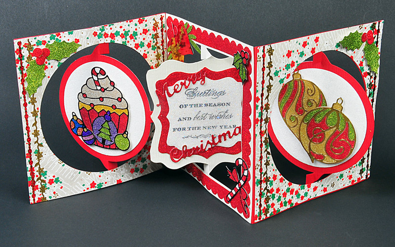 8006 Christmas Cupcake Accordion Card - Karen Swemba - Hanko Designs www.HankoDesigns.com 2014