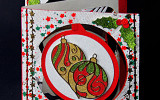 8006 Christmas Cupcake Accordion Card - Karen Swemba - Hanko Designs  www.HankoDesigns.com 2014 Closeup03