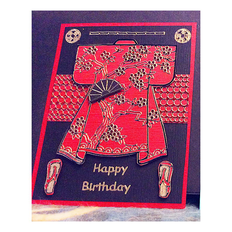 8007 Red Kimono Birthday Card by Karen Swemba - www.HankoDesigns.com 2014