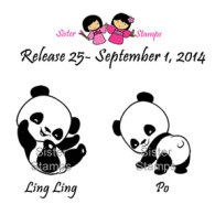 Po Ling Ling Set Sister Stamp Panda Bear - Sold by www.HankoDesigns.com September 2014 Release 25
