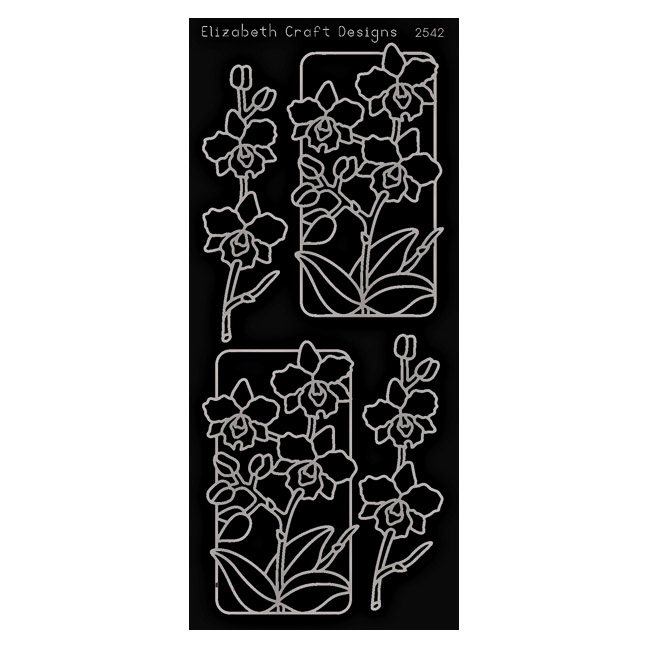 SRS2542B Black Flowers in Frame Peel Off Stickers www.HankoDesigns.com 2014
