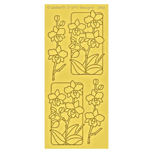 SRS2542G Gold Flowers in Frame Peel Off Stickers www.HankoDesigns.com 2014