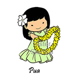SS0082 Pua w/ Lei Sister Stamps unmounted rubber stamps - www.HankoDesigns.com March 2015 Girl Release 27