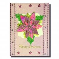 8010 Karen Swemba 2015 Poinsettia Pink Card Merry Christmas