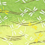 RTB9064 Green Dragonfly Field Washi Paper