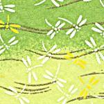 RTB9064 Green Dragonfly Field Washi Paper
