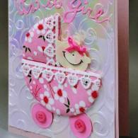 1511 8014 Karen Swemba Baby Buggie Card 2015 COW Hanko Designs
