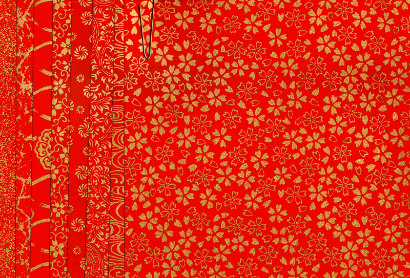 PC307 Red Assorted Yuzen Washi Origami Paper 2015 Hanko Designs