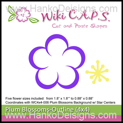 SDWC008 Ume Plum Blossom Outline Wiki CAPS Die 2015 www.HankoDesigns.com