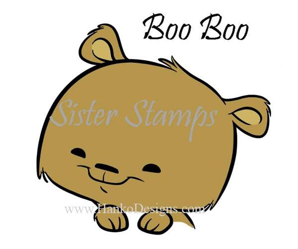 SS0096 29 Boo Boo Peeking Animal Series 29 Sister Stamps 2015 Bear