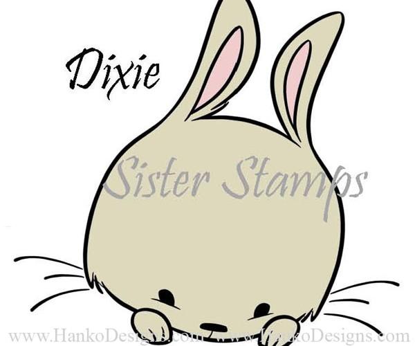 SS0092 29 Dixie Peeking Animals Series 29 Sister Stamps 2015 Rabbit