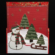 8018 Swemba Snowman Card Tree Sled Merry Christmas