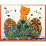 Happy Easter Card w/ kitten and eggs Karen Swemba 2016