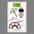 CL-11 Keiko Dandelion Stamp - www.HankoDesigns.com CL11 girl umbrella kimono bridge