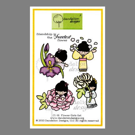 CL-16 Flower Girls Dandelion Stamp - www.HankoDesigns.com CL16