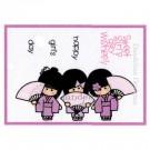 MC-17 Girls Day Dandelion Stamp - www.HankoDesigns.com MC17 girls kimono cute