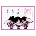 MC-17 Girls Day Dandelion Stamp - www.HankoDesigns.com MC17 girls kimono cute