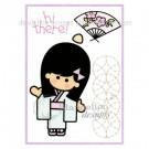 MC-25 Hi There Dandelion Stamp - www.HankoDesigns.com MC25 girl fan kimono