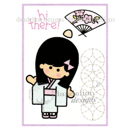 MC-25 Hi There Dandelion Stamp - www.HankoDesigns.com MC25 girl fan kimono