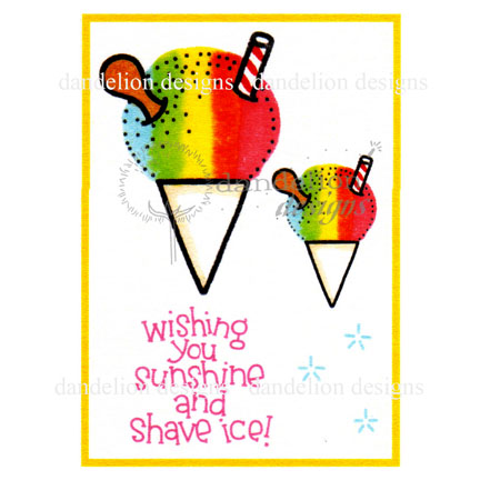 MC-43 Sunshine and Shave Ice Dandelion Stamp - www.HankoDesigns.com Hawaii friendship