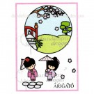 MC-55 Teeny Weeny Garden Dandelion Stamp - www.HankoDesigns.com MC25 girl kimono