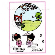 MC-55 Teeny Weeny Garden Dandelion Stamp - www.HankoDesigns.com MC25 girl kimono