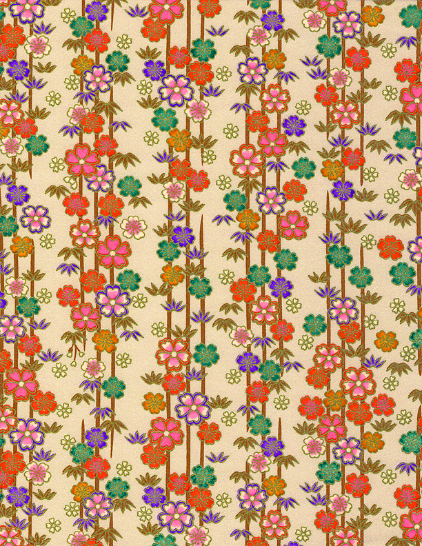 rkb2830 Sakura Bamboo Forest Washi 2016 Bulk Tan Colorful