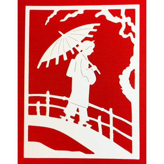 FRA10059 Geisha Crossing Bridge Panel sample Frantic Stamper